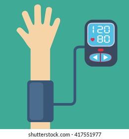 High blood pressure concept vector, measuring blood pressure