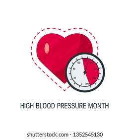 High blood pressure month concept. Simple design with heart and tonometer in flat style, vector