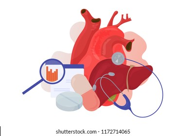High cholesterol Detox Protocol vector illustration. Lipid profile or lipid panel tests diagnostics icon isolated. Cholesterol and triglycerides profile panel or Detox program Heart and liver concept.