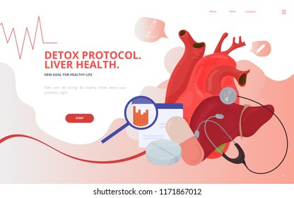 High cholesterol vector illustration. Cardiovascular risk Lipid profile or lipid panel tests diagnostics site wireframe. Cholesterol and triglycerides profile panel conference presentation template.