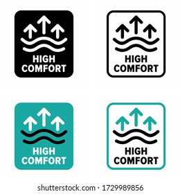 """""""High comfort"""" zone, item, fabric information sign"""