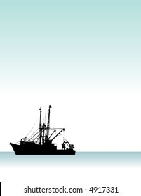 A high contrast illustration of a fishing boat on the ocean