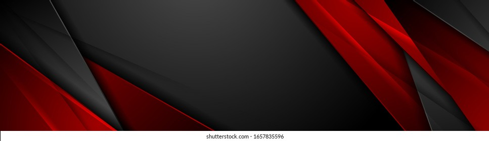 High contrast red and black glossy stripes. Abstract tech graphic banner design. Vector corporate background
