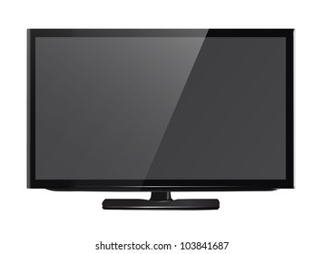 High definition internet led or led tv isolated on white