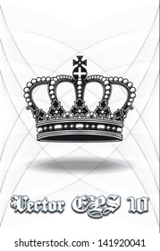 High definition vintage baroque crown isolated vector illustration in black and white with background