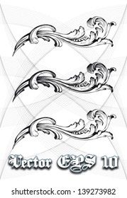 High definition vintage baroque victorian curl swirl ornament isolated vector illustration in black and white