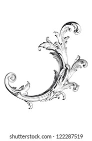 High definition vintage victorian curl swirl ornament isolated vector illustration in black and white