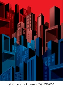 High density city buildings skyline, graphic comic style.