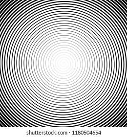 High density spiral. Halfotne effect. Vector black and white illustration.