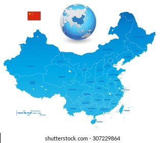 A High Detail Blue vector Map of the People's Republic of China's, with a blue Earth globe and China flag.