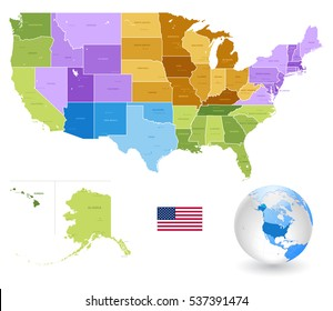 High Detail Colorful vector United States of America States and major cities, with also a 3D globe centered on US.All elements are separated in editable layers clearly labeled.