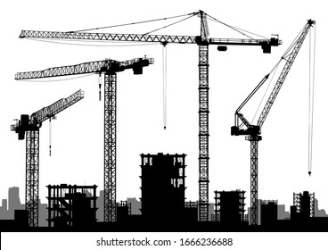 High detail cranes vector silhouettes.