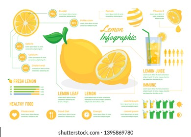 High Detail Fresh Lemonade Infographic Chart Composition Poster Illustration, Suitable For Education, Presentation, Print and Other Related Occasion