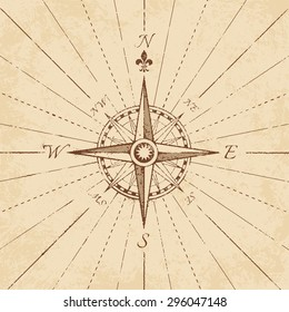 An high detail illustration of an antique compass rose on a grunge paper, complete with navigation lines.