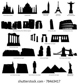 High Detail Landmarks Silhouette Set With Description of Title and Place. St. Basil Cathedral, Taj Mahal, Eiffel Tower, Campanile, Statue of Jesus, Coliseum, Pisa, Stonehenge.   Vector illustration.