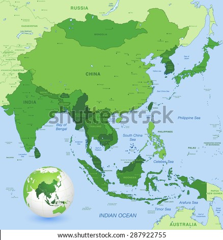 High Detail Map Far East Asia Stock Vector Royalty Free 287922755