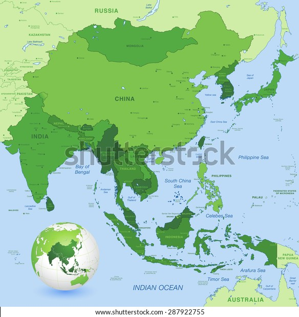 Map Of East Asia Countries.High Detail Map Far East Asia Stock Vector Royalty Free 287922755