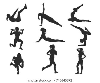 High Detail Silhouette Series - Girl Workout 1