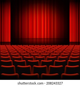 A high detail vector illustration of a Red Curtains Theater Stage.