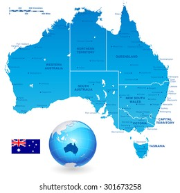 high detail vector map of australia with states and major cities a 3d globe