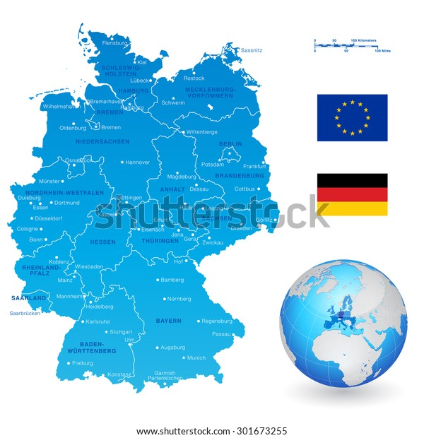 High Detail Vector Map Germany States Stock Vector (Royalty ...