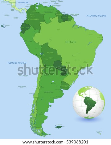 high detail vector map south america stock vector royalty free