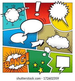 A high detail vector mock-up of a typical comic book page with various speech bubbles, symbols and sound effects and colored Halftone Backgrounds.