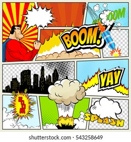 A high detail vector mock-up of a typical comic book page with various speech bubbles, symbols and sound effects and colored Halftone Backgrounds superhero
