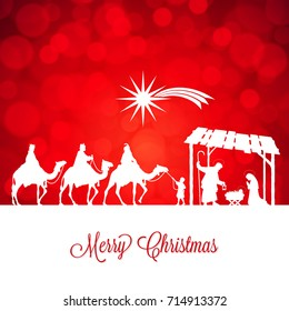 High detail Vector nativity Christmas Scene, Merry Christmas text on a red background