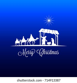 High detail Vector nativity Christmas Scene with falling star graphics, Merry Christmas text on a blue background