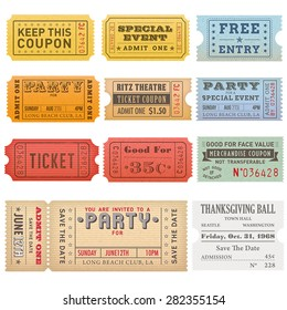 High detail Vintage grunge Tickets and Coupons