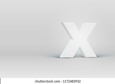 High detailed 3D font character 'X', vector illustration