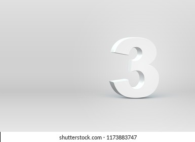 High detailed 3D font character '3', vector illustration