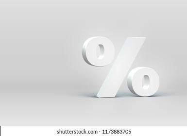 High detailed 3D font percentage character, vector illustration