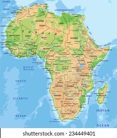 High detailed Africa physical map with labeling.