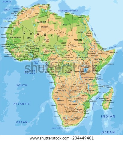 High Detailed Africa Physical Map Labeling Stock Vector Royalty
