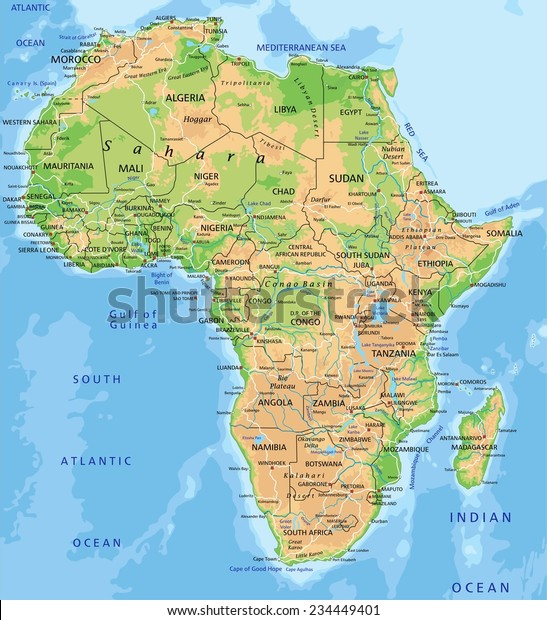 High Detailed Africa Physical Map Labeling Stock Vector (Royalty
