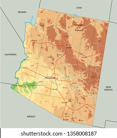 High detailed Arizona physical map with labeling.