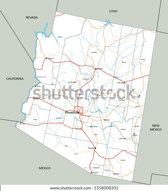 High Detailed Arizona Road Map Labeling Stock Vector ...