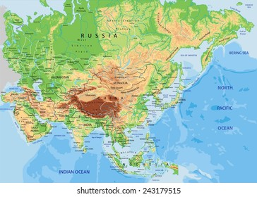 Detailed Map Of Asia.Physical Map Asia Images Stock Photos Vectors Shutterstock