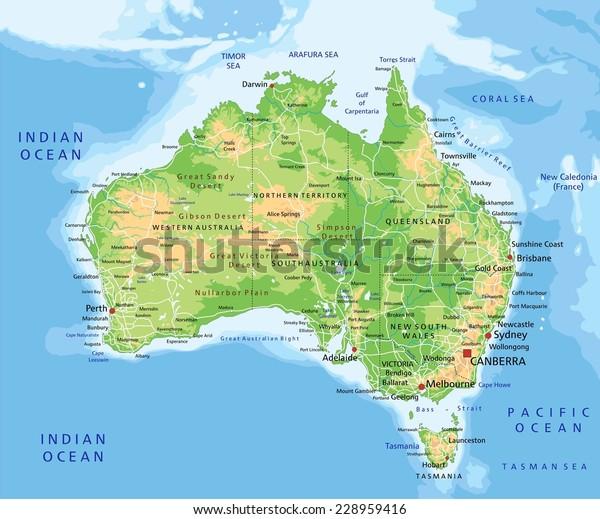 Cartina Fisica Dell Australia.Immagine Vettoriale Stock 228959416 A Tema Alta Mappa Fisica