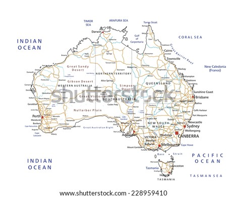 Road Map Australia.High Detailed Australia Road Map Labeling Stock Vector Royalty Free