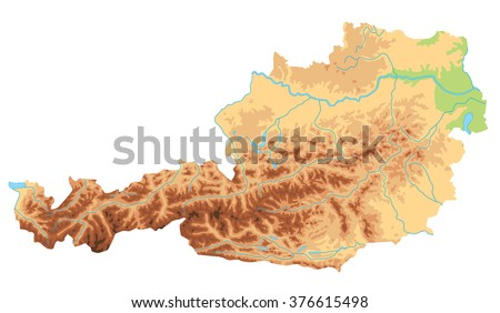High Detailed Austria Physical Map Stock Vector (Royalty Free ...