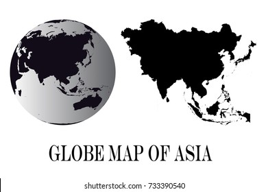 High Detailed black Globes and Asia Map isolated on white background. editable vector illustration.