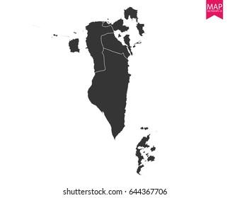 High detailed - black map of Bahrain on white background. Vector illustration eps 10.