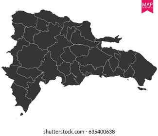 High detailed - black map of Dominican Republic on white background. Vector illustration eps 10.