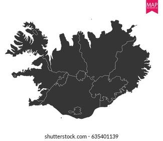High detailed - black map of Iceland on white background. Vector illustration eps 10.