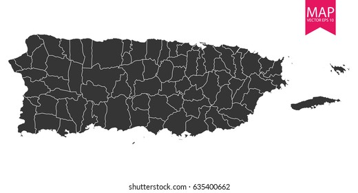 High detailed - black map of Puerto Rico on white background. Vector illustration eps 10.