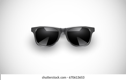 High detailed black sunglasses with reflections, on white background, vector illustration