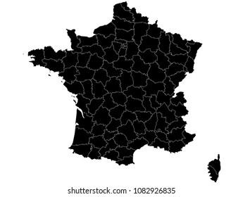 Hochdetaillierte schwarze Vektorkarte - Departements Frankreich Karte